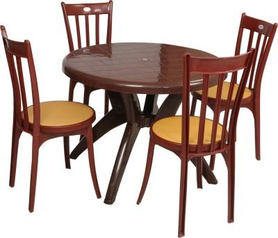 Supreme Teak Wood Plastic Table U0026 Chair Set (Finish Color   Teak Wood)