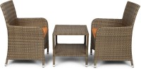 Svelte Brown Metal Table & Chair Set (Finish Color - Brown)