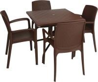 Supreme Globus Brown Plastic Table & Chair Set (Finish Color - Globus Brown)