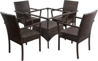 Mavi Brown Cane Table & Chair Set (Finish Color - Brown) - OTSEMYDCF3KSMYPZ