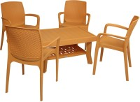 Supreme Amber Gold Plastic Table & Chair Set (Finish Color - Amber Gold)