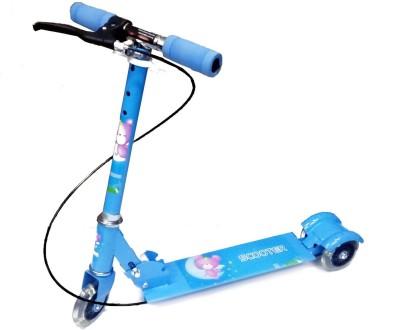 WonderKart Height Adjustable 3 Wheels Kids Scooter With Brake & Led Lights In Wheels (Blue)