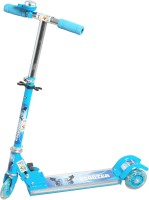 Grabby Three Wheel Metal Folding Side Light Skate Scooter With LED Lights And Bell (Blue)