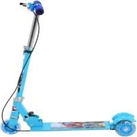 Oddeven 3 Wheel Folding Scooter For Kids - Led Lights On Wheels, Height Adjustable, Bell & Brake (Blue)
