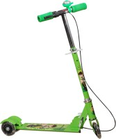 ADYGM Green 3 Wheel Skating Scooter With Hand Brake And Bell For Kids (Foldable, Height Adjustable, Ben 10 Theme) (Green)