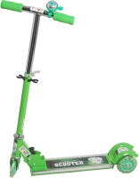 Grabby Three Wheel Metal Folding Side Light Skate Scooter With LED Lights And Bell (Green)