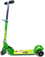 Grabby Three Wheel Metal Folding Skate Scooter With LED Lights-G0490SS-Green (Green)