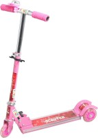 Lotus 3 Wheel Folding Scooter For Kids - LED Lights On Wheels, Height Adjustable, Bell (Pink)