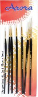 Kabeer Art Series 35 Round Paint Brushes (Set Of 7, Black)