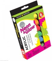 Daler Rowney Simply Acrylic Tube (Set Of 6, Yellow, Orange, Red, Pink, Green, Glow In The Dark Colour)