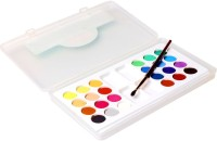 Svila 24 Color Cakes Along With Brush Water Paint Plastic (Set Of 1, Multicolor)