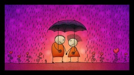 dkh couple umbrella love with mate finish print Acrylic Painting