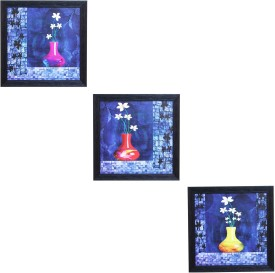 CraftJunction Set of 3 Flower Series Matt Textured UV Canvas Painting