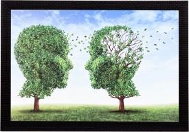 eCraftIndia Face In A Tree Satin Matt Textured UV Art Canvas Painting