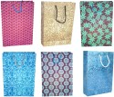 R S Jewels Paper Handmade Bag Ethnic Assorted Coloured Combo 5 Pcs. Sets Printed Party Bag - Multicolor, Pack Of 5