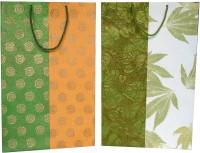 Handmade Kreation Designer Solid Party Bag (Orange, Green, White, Pack Of 2)