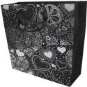 Enwraps Heart Big Paper Printed Party Bag - Black, White, Pack Of 6