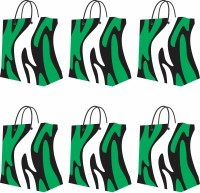 PapyrusBolsys Printed Party Bag (Green, White, Black, Pack Of 6)