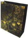 Enwraps Heart Big Paper Printed Party Bag - Black, Yellow, Pack Of 6