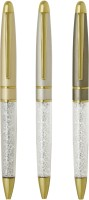 Giftvenue White Crystal Ball Pen (Pack Of 3, Blue)