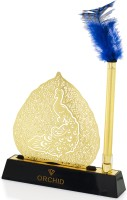 Orchid Brass Motif Stand With Feather Quill Ball Pen Ball Pen (Blue)