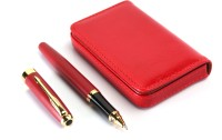 Srpc LEATHER ATM CARD HOLDER & GOLDEN ARROW CLIP EXECUTIVE ROLLERBALL Pen Gift Set (Pack Of 2, BLUE)