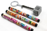 SRPC Marvel Avengers Thor Hammer Key Chain And (PACK OF 3) Cartoon Fountain Pen Gift Set (Pack Of 4, Blue)
