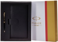 Parker Aster Laque Gold Trim Ball Pen And Passport Holder Pen Gift Set (Blue)