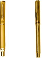 Hayman 24 CT Gold Plated Designer Pack Of 2 Roller Ball Pen (Pack Of 2, Blue)