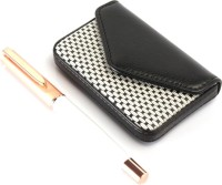 SRPC PREMIUM LEATHER ATM CARD HOLDER & ROSEGOLD CAP EXECUTIVE ROLLERBALL Pen Gift Set (Pack Of 2, BLUE)