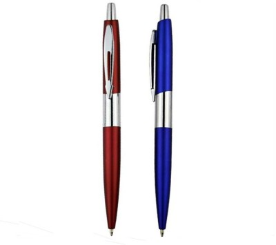 RIF Metal Chrome Pen Red & Blue (Set Of 2 Pcs) Ball Pen (Pack Of 2, Blue)