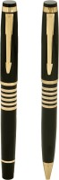 Giftvenue Golden Finish Roller Ball Pen (Pack Of 2, Blue)
