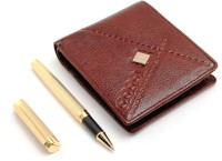 SRPC PREMIUM MENS LEATHER WALLET & EXECUTIVE MESH GOLD ROYAL ROLLERBALL Pen Gift Set (Pack Of 2, BLUE)