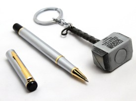 SRPC Marvel Avengers Thor Hammer Keychain And Stainless Steel Elegant Rollerball Pen Gift Set