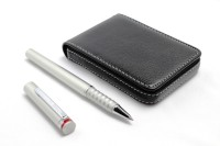 SRPC Atm Card Wallet And Rotring Esprit Emotion Roller Ball Pen (Pack Of 2, Black)