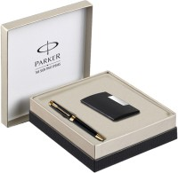 Parker Ambient Lacque Black Gt Bp With Card Holder Pen Gift Set (Blue)