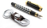 SRPC Elegant Hook Keychain And Checks Pattern Fountain Pen Gift Set (Pack Of 2, BLUE)