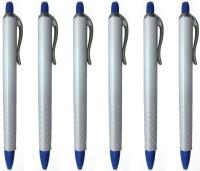 PeepalComm Classic White Roller Ball Pen (Pack Of 6, Blue)