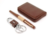 SRPC DESIGNER HOOK KEY CHAIN , LEATHER ATM HOLDER & EXECUTIVE ROLLERBALL Pen Gift Set (Pack Of 3, Blue)