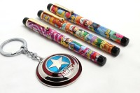 SRPC Marvel Avengers Shield Key Chain And (PACK OF 3) Cartoon Design Fountain Pen Gift Set (Pack Of 4, Blue)