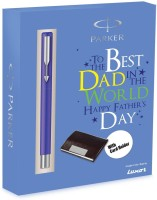 Parker Vector Std CT Rb With Free Card Holder Specially For Father's Blue Sleeve Roller Ball Pen (Blue)