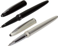 Auteur Auter Diamond Studded Gift Collection Set Of Black And Pearl White Roller Ball Pen (Pack Of 2, Black)