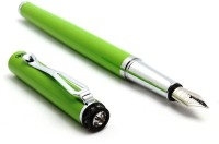 SRPC Crystal Diamond Embedded Green Jewel Pretty Fountain Pen (Blue)