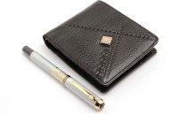 SRPC WOOD GENUINE LEATHER MENS WALLET & GOLDEN EYE EXECUTIVE ROLLERBALL Pen Gift Set (Pack Of 2, BLUE)