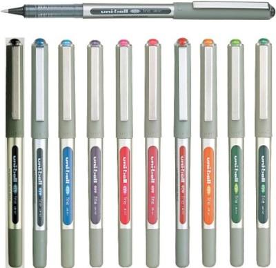 Uniball Ballpen Roller Ball Pen (Pack Of 10, Black, Blue, Red, Green, Violet, Pink, Wine Red, Light Blue, Orange, Light Green)
