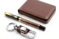 SRPC Atm Card Wallet & Omuda Hook Keychain & Elegant Fountain Pen Gift Set (Pack Of 3, Blue)
