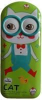 Trendy Toon Cat Art Metal Pencil Box (Set Of 1, Green)