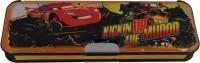 Disney Cars Cartoon Art Plastic Pencil Box (Set Of 1, Yellow, Gray)