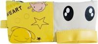 Klassik Double Zip Random Art Cloth Pencil Box (Set Of 1, Yellow)
