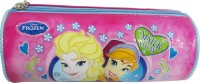 Frozen Pencil Pouch Character Face Art Fabric Pencil Box (Set Of 1, Pink)